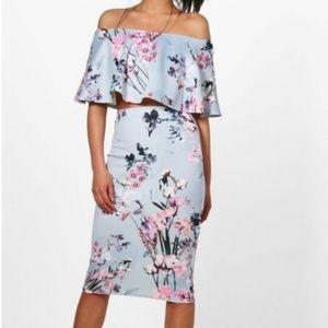 BooHoo Floral Print Midi Skirt Set